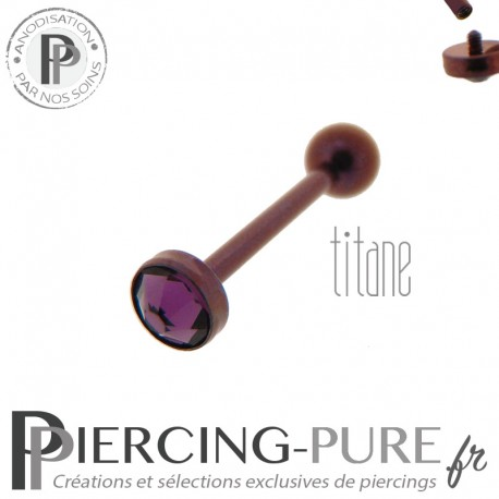 Piercing Langue Titane Dark Purple Cristal violet 5mm