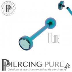 Piercing Langue Titane Turquoise Cristal bleu 5mm