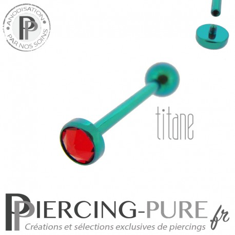 Piercing Langue Titane Vert Cristal rouge 5mm