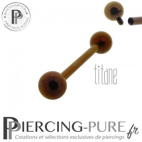 Piercing Langue Titane Dark Bronze billes 5mm
