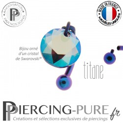 Piercing Nombril Inversé Titane interne anodisé Blurple Crystal Amethyst Shimmer 10mm