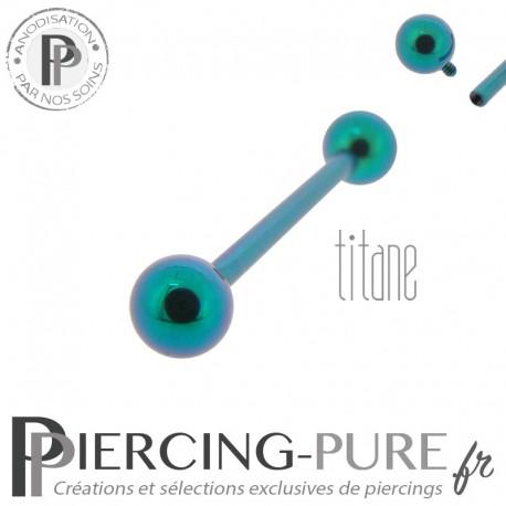 Piercing Langue Titane Vert Turquoise billes 5mm