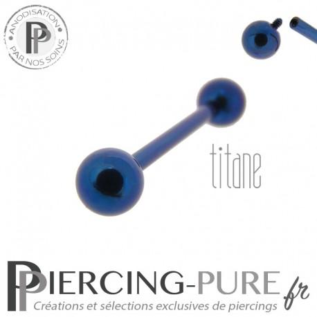 Piercing Langue Titane Dark Blue billes 5mm