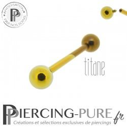 Piercing Langue Titane Bicolore Doré Bronze billes 5mm