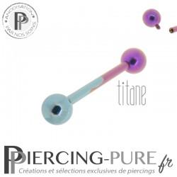 Piercing Langue Titane Bicolore Bleu Rose billes 5mm