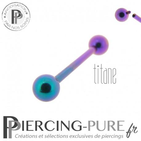 Piercing Langue Titane Bicolore Violet Turquoise billes 5mm