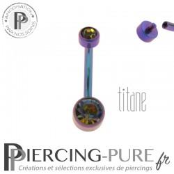 Piercing nombril Titane Blurple Disques de cristaux Vitrail Medium