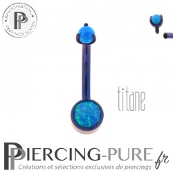 Piercing nombril Titane Violet Disque et bille griffée d'opales bleues