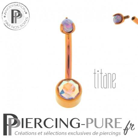 Piercing nombril Titane Rose doré cristal irisé et bille griffée d'opale