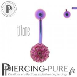 Piercing Nombril Titane violet et boule de Cristaux fushia