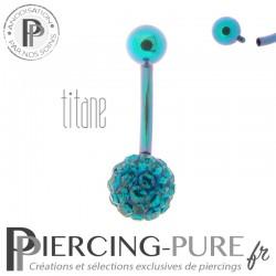 Piercing Nombril Titane turquoise et boule de Cristaux Turquoises