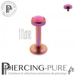 Piercing labret titane rose interne opale rose