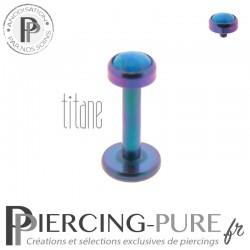 Piercing labret titane bleu violet interne opale bleue