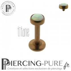 Piercing labret titane bronze interne opale blanche