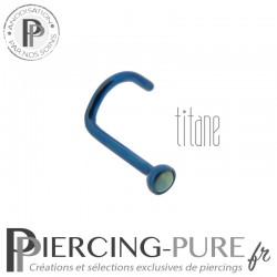 Piercing Nez Titane bleu nuit et opale bleu claire