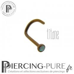 Piercing Nez Titane bronze et opale bleu claire