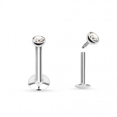 Piercing Labret Acier strass blanc - 6mm