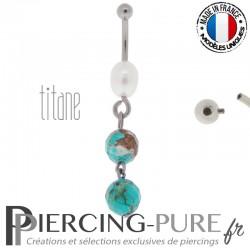 Piercing Titane interne Perle de culture et turquoises naturelles