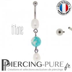 Piercing Titane interne Trio Perles de culture et turquoise