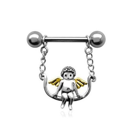 Piercing Téton Ange ailes dorées
