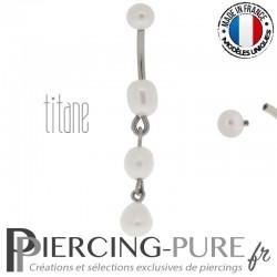 Piercing Titane interne Cascade de Perles naturelles