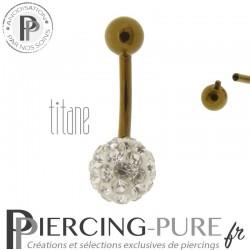 Piercing Nombril Titane bronze et boule de Cristaux blancs