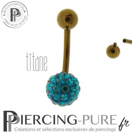 Piercing Nombril Titane bronze et boule de Cristaux turquoises