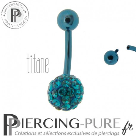 Piercing Nombril Titane bleu et boule de Cristaux turquoises