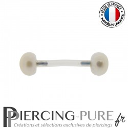 Piercing Téton flexible Perles de culture bouton blanches