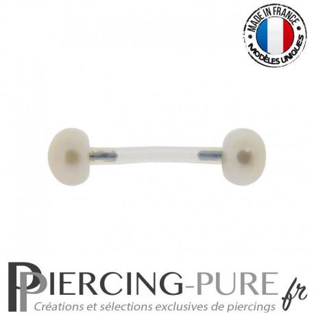 Piercing Téton flexible Perles de culture bouton blanches