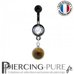Piercing Nombril Blackline et pierre oeil de tigre pendante