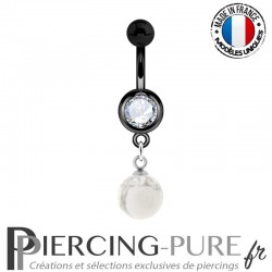 Piercing Nombril Blackline et pierre howlite pendante