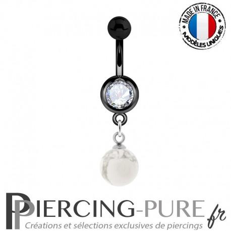 Piercing Nombril Blackline et pierre howlite pendante