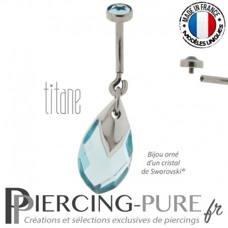 Piercing Nombril Titane interne Poire bleue light chrome