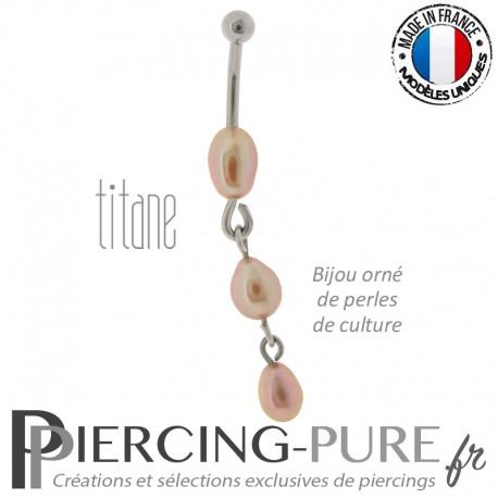 Piercing Titane interne Cascade de Perles roses naturelles