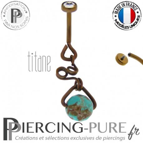 Piercing Nombril Titane interne anodisé Dark Bronze et turquoise modèle 1
