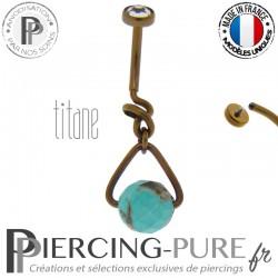 Piercing Nombril Titane interne anodisé Dark Bronze et turquoise modèle 2