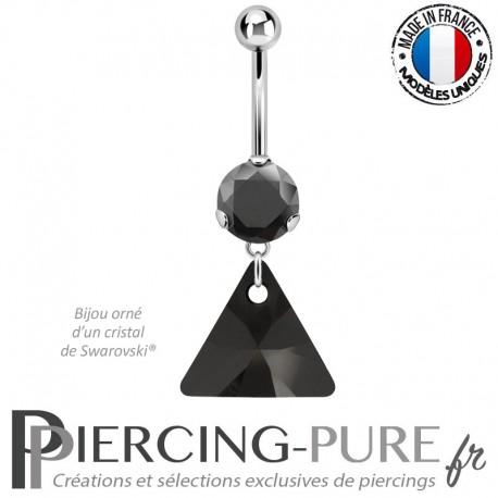 Piercing Nombril Acier triangle Swarovski Elements® Jet