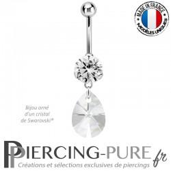 Piercing Nombril Acier avec mini poire 12mm Swarovski® element cristal blanc