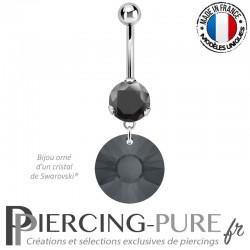 Piercing Nombril Acier Rivoli Swarovski Elements® Silver night