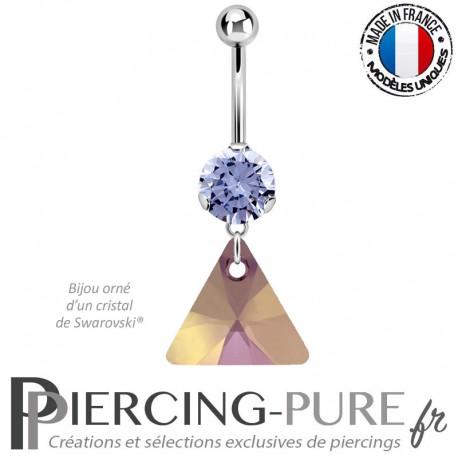 Piercing Nombril Acier cristal lavande et triangle Swarovski Elements® Lilac Shadow