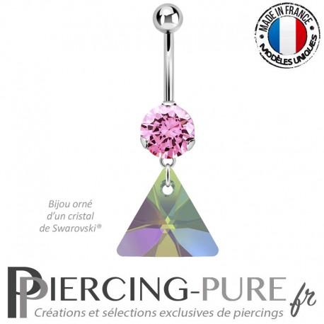 Piercing Nombril Acier cristal rose et triangle Swarovski Elements® Paradise Shine