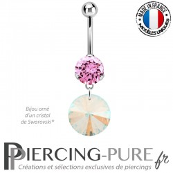Piercing Nombril Acier Rivoli Swarovski Elements® Crystal Shimmer