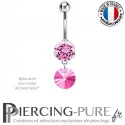 Piercing Nombril Acier avec Rivoli Swarovski Elements® rose 8mm