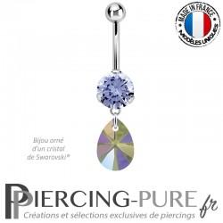 Piercing Nombril Acier avec mini poire 10mm Swarovski® element cristal paradise shine
