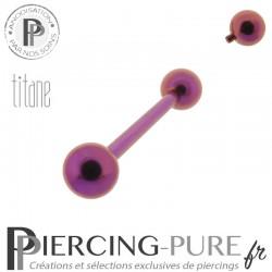 Piercing Langue Titane Fushia billes 5mm