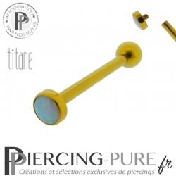 Piercing Langue Titane Doré Opale bleu ciel 4mm
