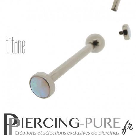 Piercing Langue Titane avec Opale bleu ciel 4mm