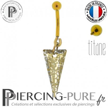 Piercing Nombril Titane doré interne Spike Gold Patina
