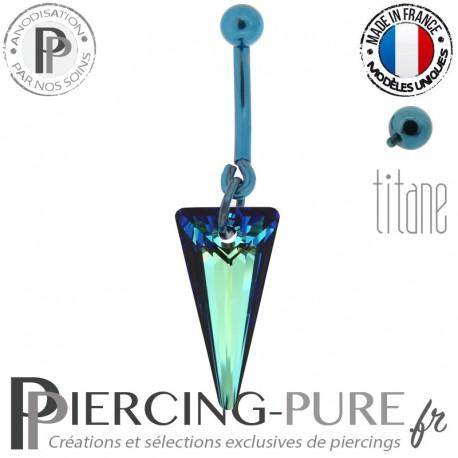 Piercing Nombril Titane bleu interne Spike Bermuda Blue